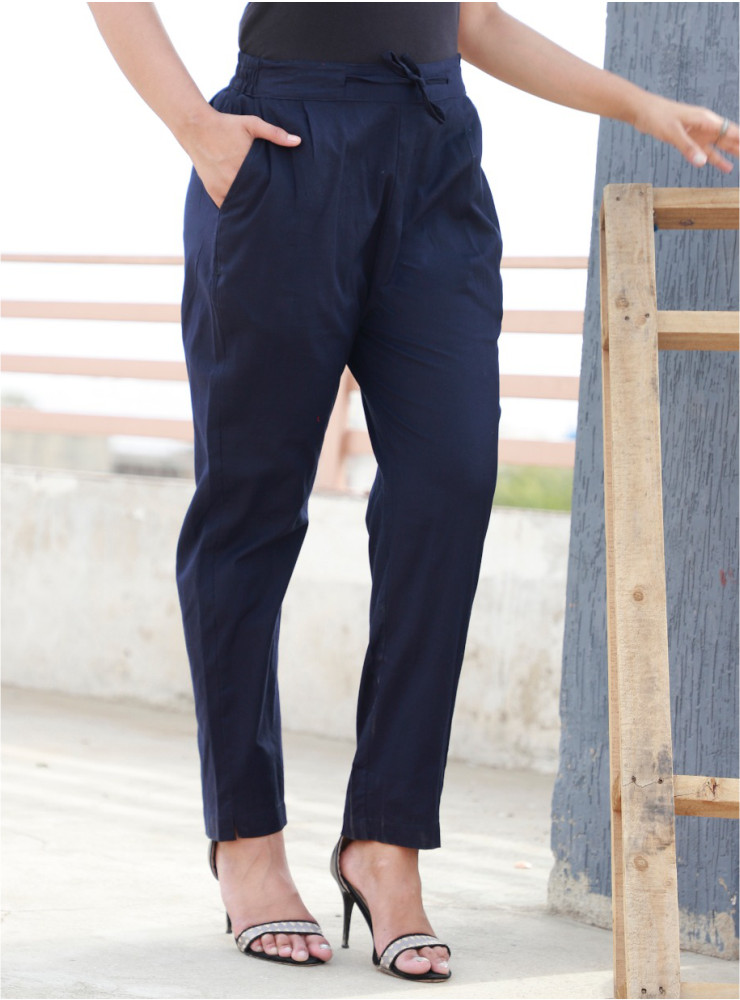 Navy Blue Cotton Khadi Narrow Pant-33466