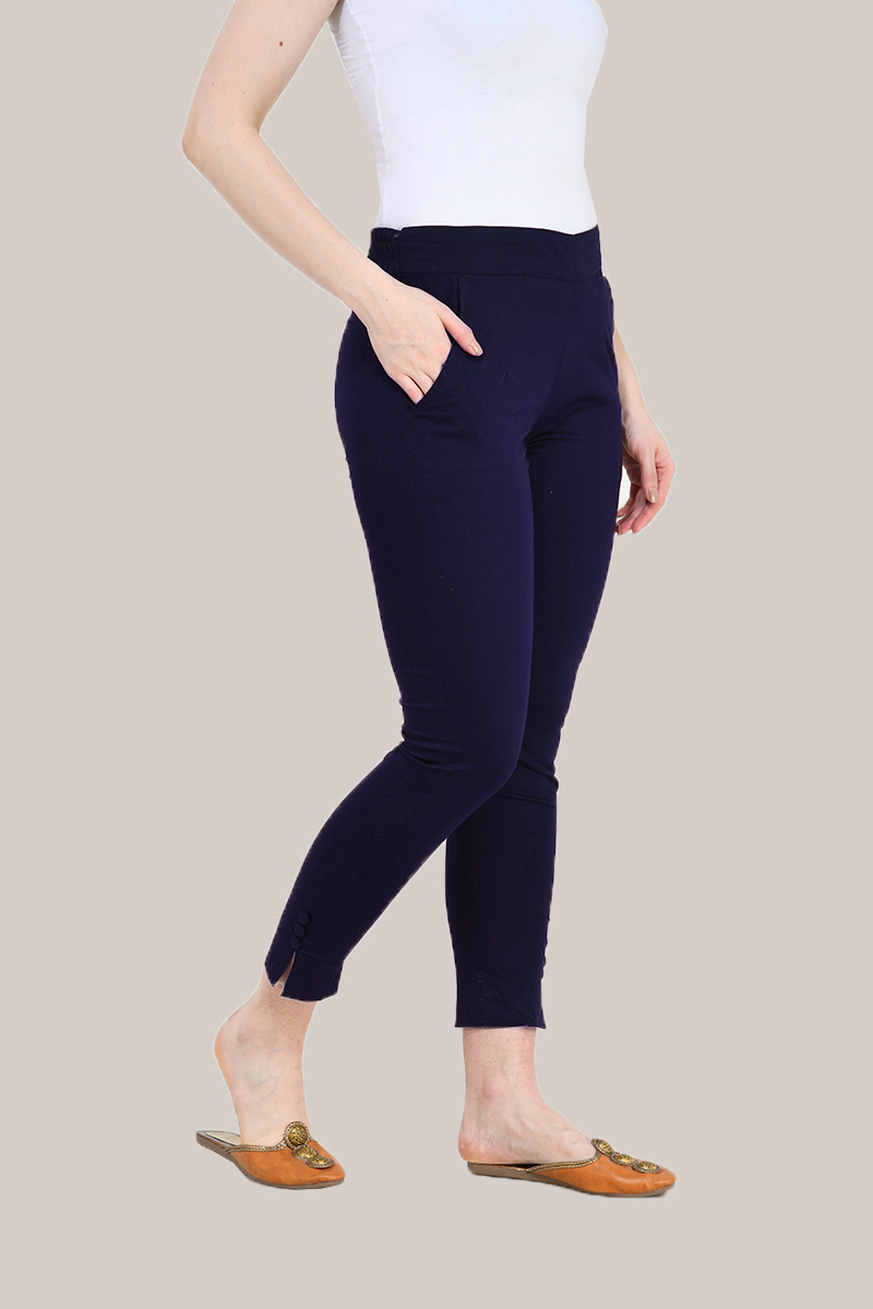 Navy Blue Cotton Lycra Trippy Pant-33510