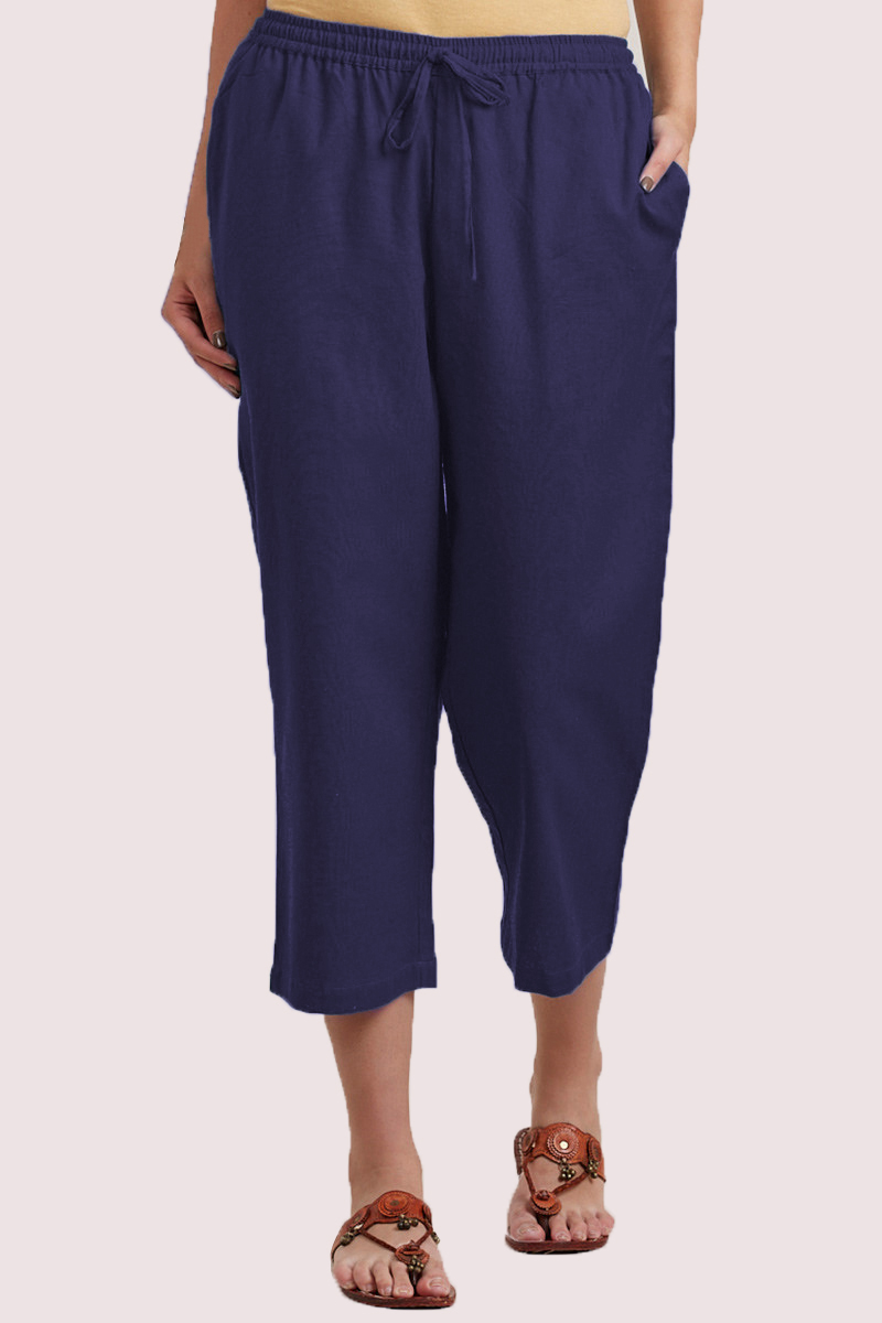 Navy Blue Cotton Solid Women Culottes-33851