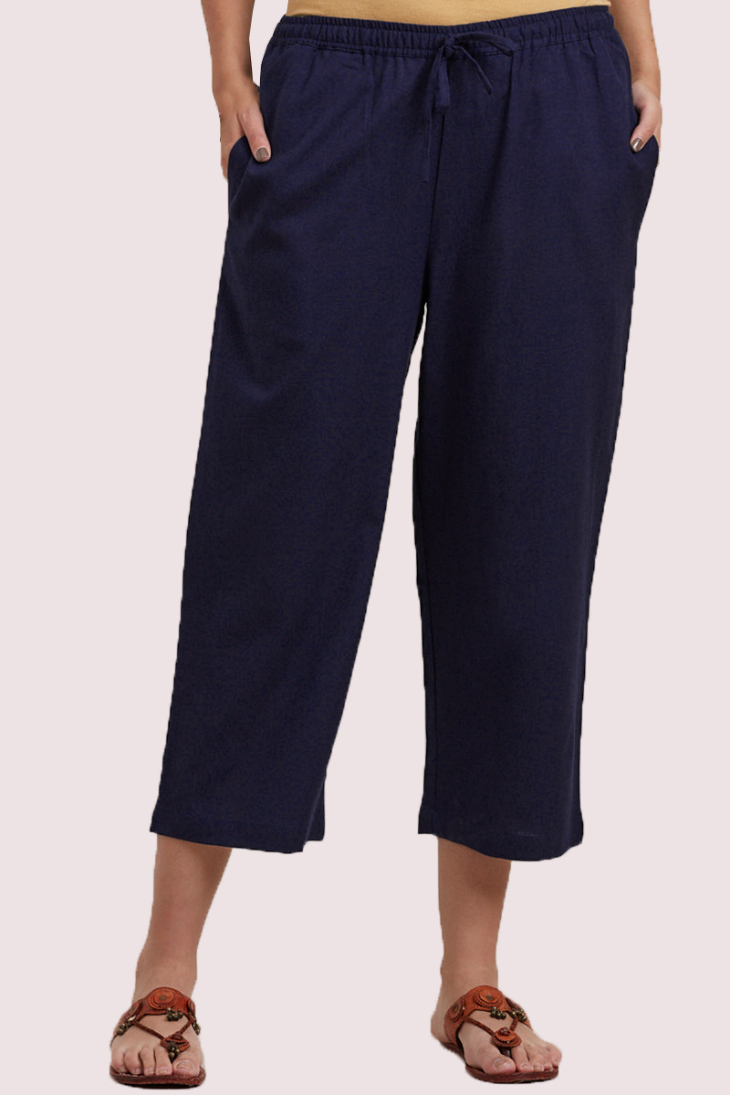 Navy Blue Cotton Solid Women Culottes-33320
