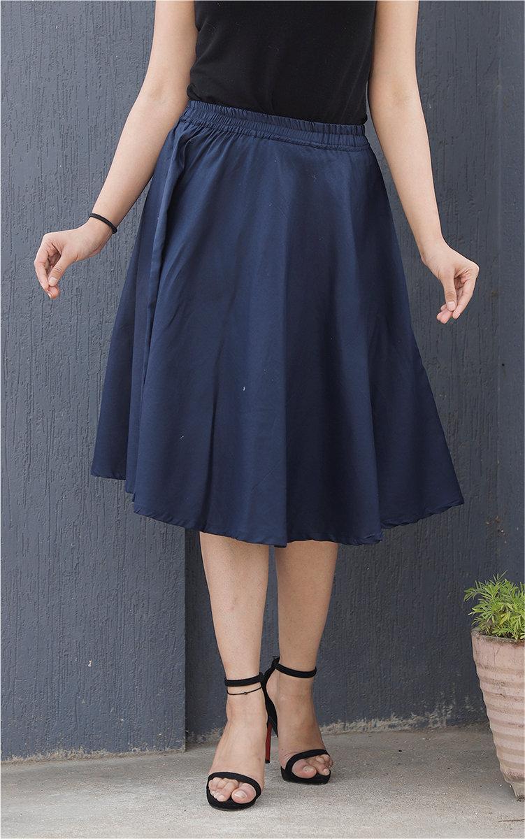 Navy Blue Cotton Women Knee-Length Skirt-35293