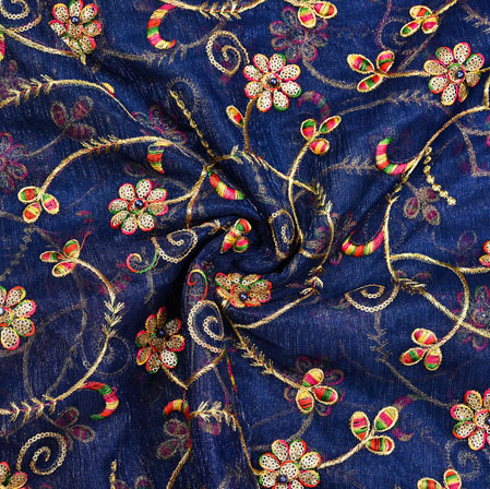 Navy-Blue Golden Floral Embroidery Organza Silk Fabric-22006