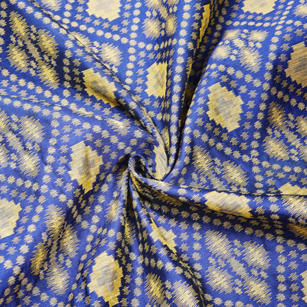 Navy Blue Golden Ikat Jaquard SIlk Fabric-12469