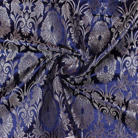Navy Blue Golden Kinkhab Banarasi Silk Fabric-9332