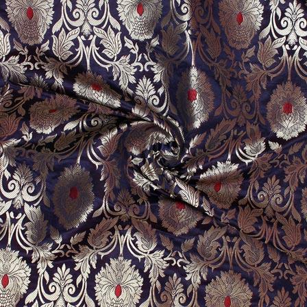 Navy Blue Golden Kinkhab Banarasi Silk Fabric-9339