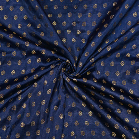 Navy Blue Golden Polka Satin Brocade Silk Fabric-12677