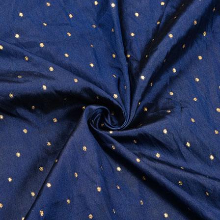 Navy-Blue Golden Polka Zari Taffeta Silk Fabric-12289