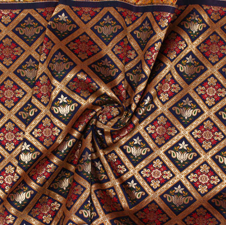 Navy Blue Golden and Red Floral Banarasi Silk Fabric-9388