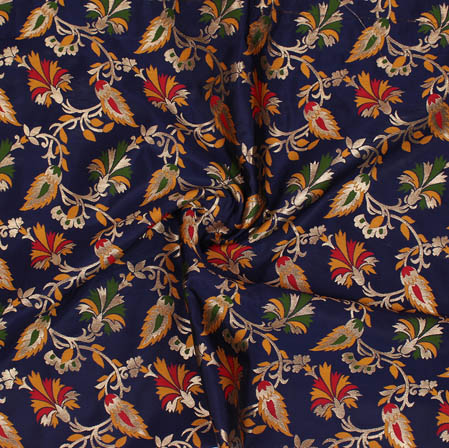 Navy Blue Green and Yellow Floral Banarasi Silk Fabric-9377
