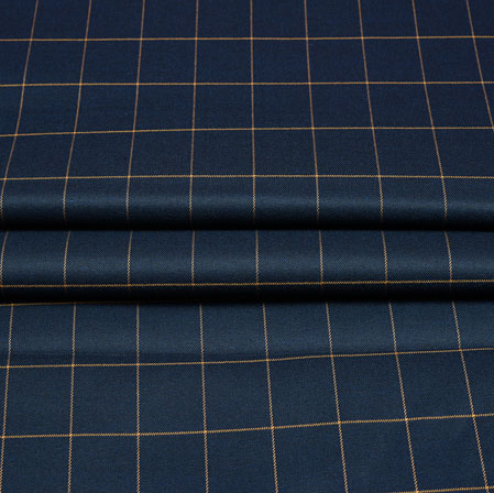 Navy Blue Mutsard Checks Wool Fabric-90226