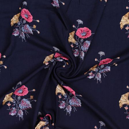 Navy Blue Pink Block Print Rayon Fabric-14812