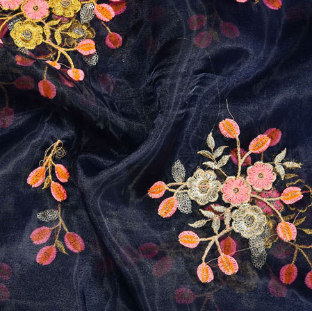 Navy-Blue Pink and Golden Floral Embroidery Organza Silk Fabric-22013