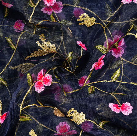 Navy-Blue Pink and Golden Floral Embroidery Organza Silk Fabric-22017