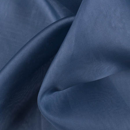 Navy Blue Plain Organza Silk Fabric-51785