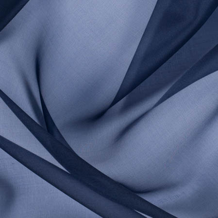 Navy Blue Plain Organza Silk Fabric-51794