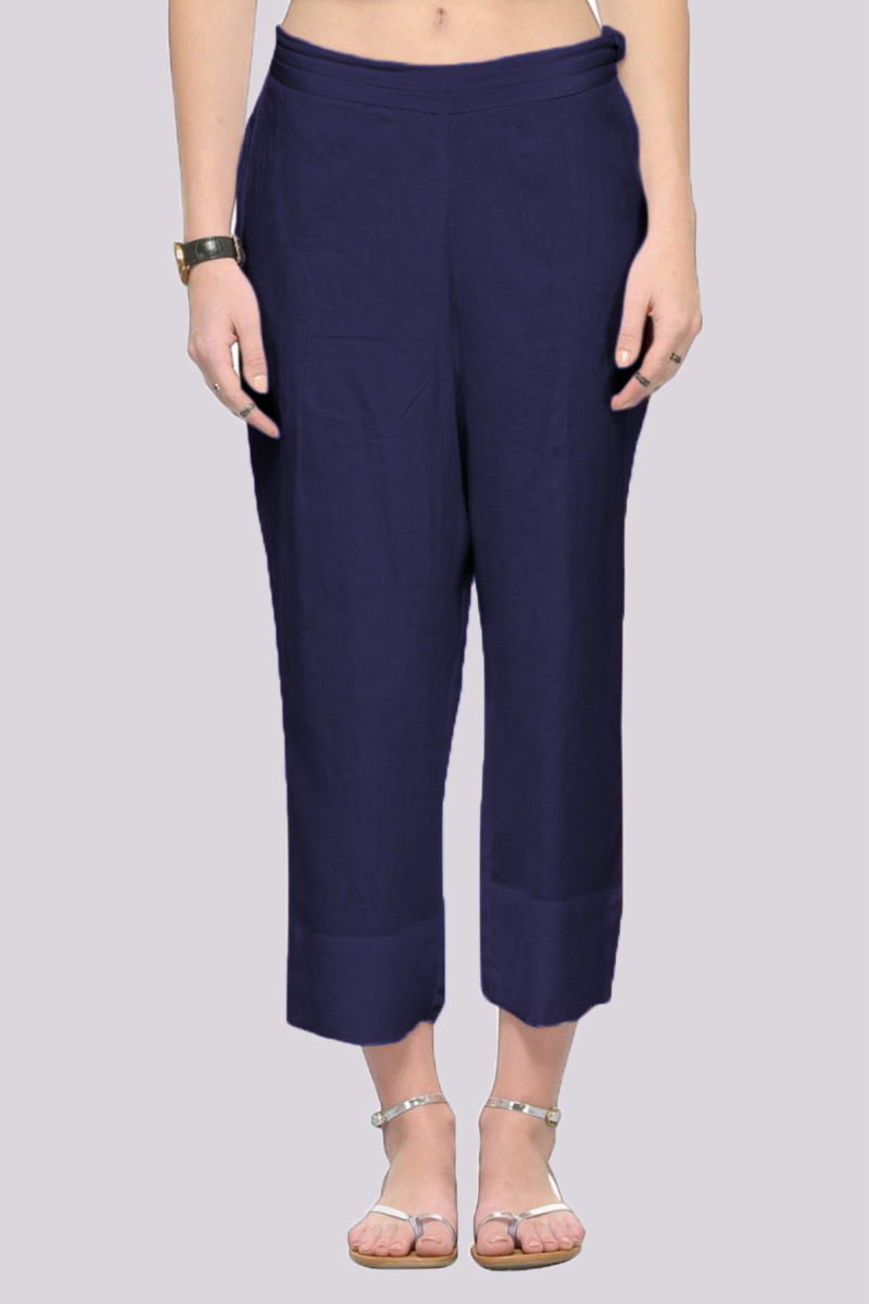 Navy Blue Rayon Ankle Length Pant-33684