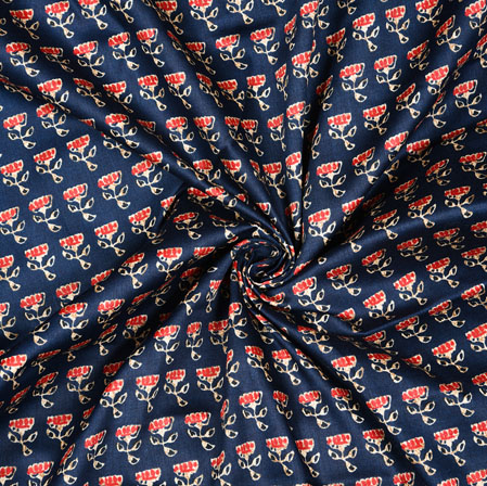 Navy Blue Red Floral Cotton Fabric-28607