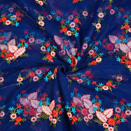 Navy-Blue Red Floral Net Embroidery Silk Fabric-18892