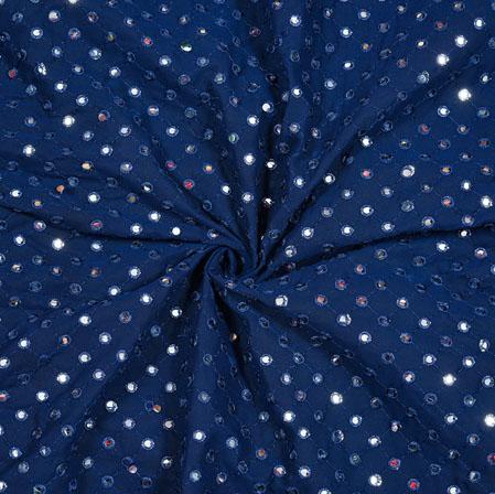 Navy-Blue Silver Mirror Work Georgette Fabric-18897