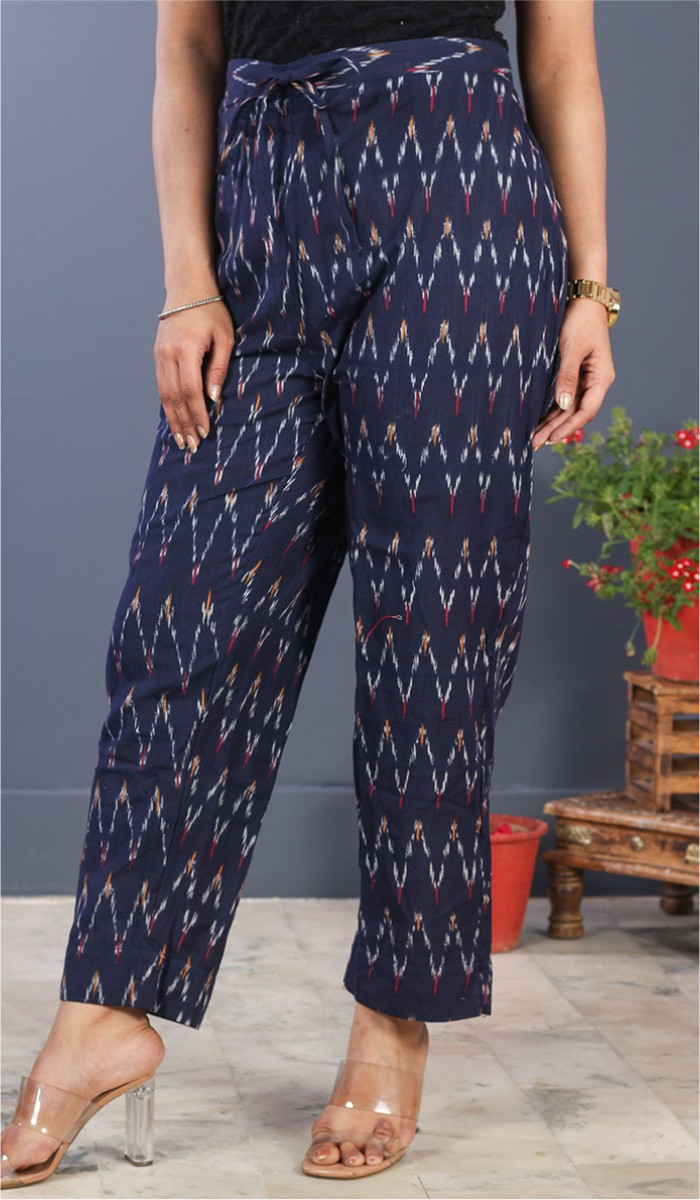 Navy Blue White Cotton Ikat Ankle Women Pant-34677