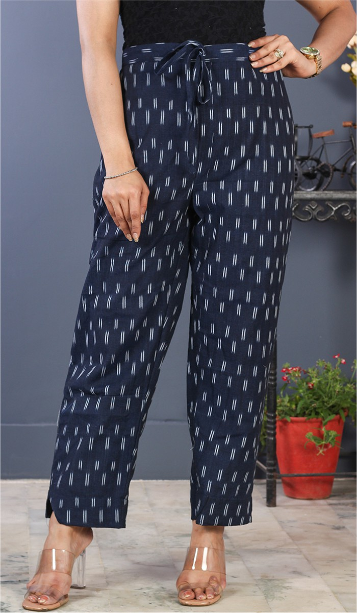 Navy Blue White Cotton Ikat Ankle Women Pant-34682