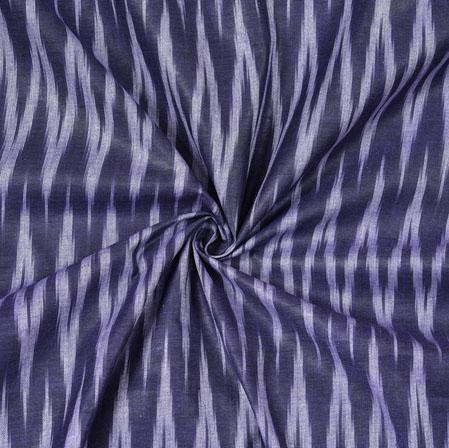 Navy Blue White Ikat Cotton Fabric-11089