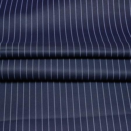 Navy Blue White Stripe Wool Fabric-90184