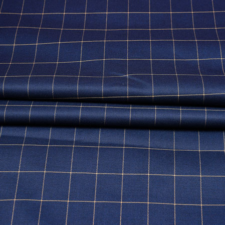 Navy Blue White Checks Wool Fabric-90205