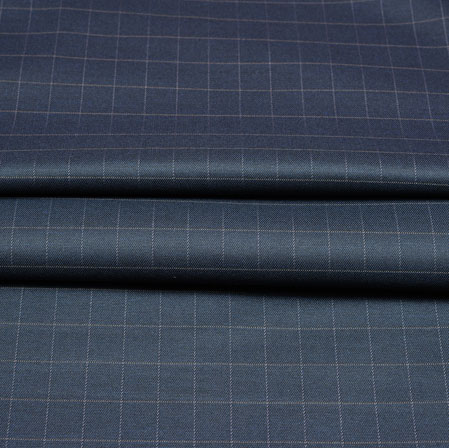 Navy Blue White Checks Wool Fabric-90244