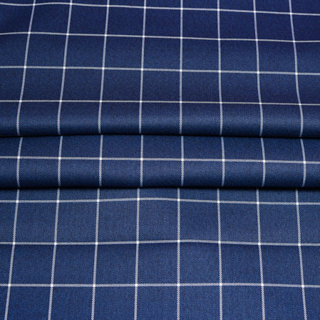 Navy Blue White Checks Wool Fabric-90255