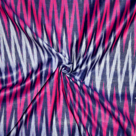 Navy Blue White and Pink Ikat Cotton Fabric-11161