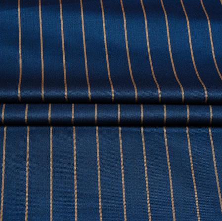 Navy Blue Yellow Stripe Wool Fabric-90183