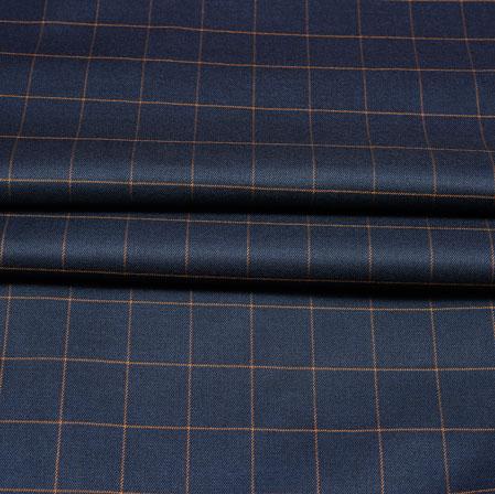 Navy Blue Yellow Checks Wool Fabric-90207
