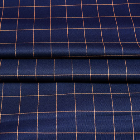 Navy Blue Yellow Checks Wool Fabric-90248