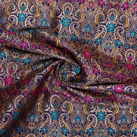 Navy Blue Yellow and Golden Floral Banarasi Silk Fabric-9328