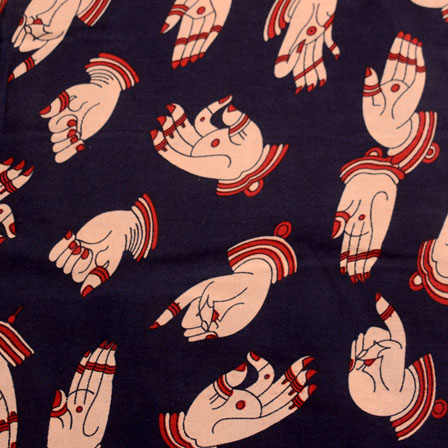 Navy Blue and Cream Hand Mudra Design Kalamkari-Screen Fabric-5502