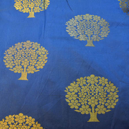Navy Blue and Golden Tree Pattern Brocade Silk Fabric-8209