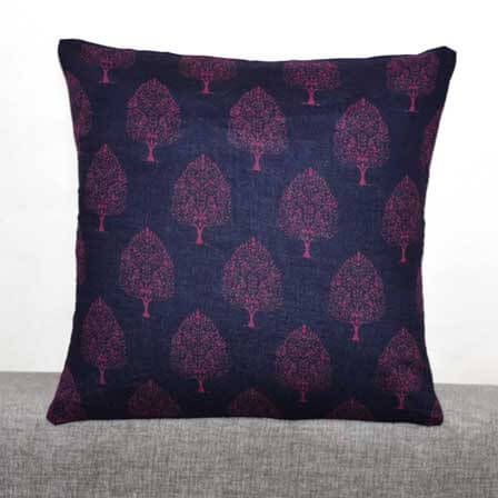 Navy Blue and Purple Flower Sanganeri Traditional Block Print Cotton Cushion Cover