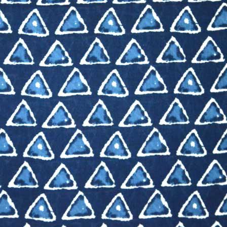 Navy Blue and Sky Blue Triangle Bagru Print Cotton Fabric