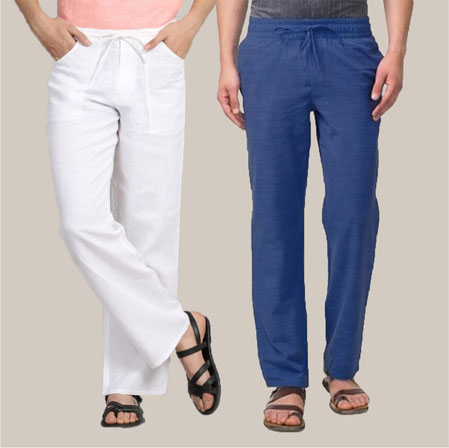 Combo of 2 Cotton Men Handloom Pant Navy Blue and White-35968