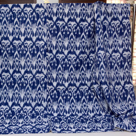 Navy Blue and White Handmade Indigo Kantha Quilt-4362