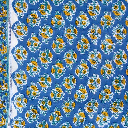 1 MTR-Navy Blue and Yellow Flower Pattern Indian Block Print Fabric by the yard