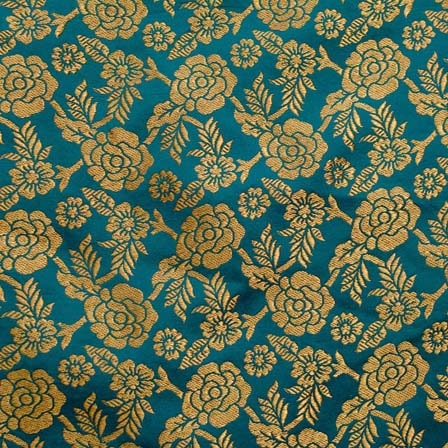 buy navy green and golden floral brocade silk fabric by the yard