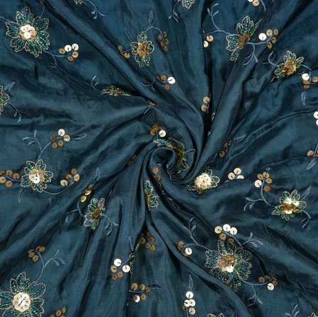 NavyBlue Beige Flower Upada Sequin Handwork Fabric-19231