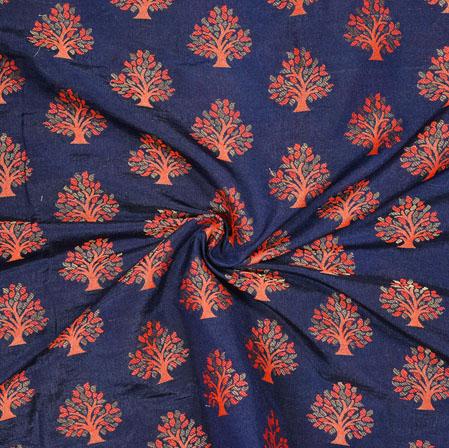 NavyBlue Orange Tree Brocade Banarasi Silk Fabric-12845