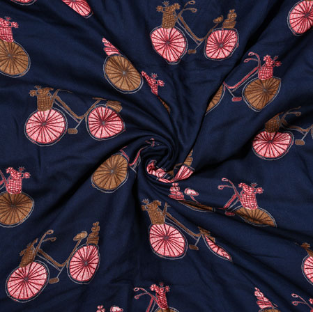 NavyBlue Pink Cycle Rayon Print Fabric-28232