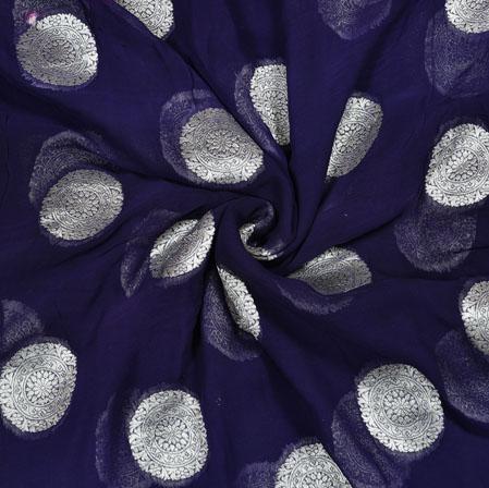 NavyBlue Silver Gola Georgette Viscose Boota Fabric-41150