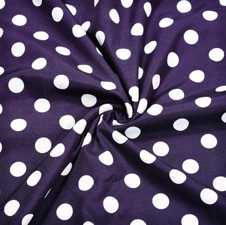 NavyBlue White Polka Crepe Silk Fabric-41117