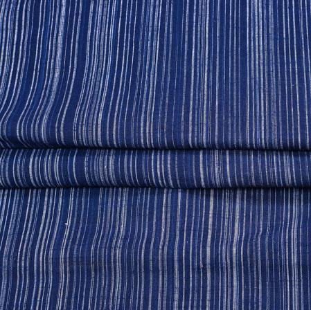 NavyBlue White Stripe Handloom Fabric-42049