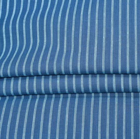NavyBlue White Stripe Handloom Fabric-42050